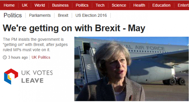 BBC reports Theresa May is getting on with Brexit, despite the surrounding furore