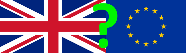 UK and EU flags with a question mark